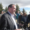 Gov. Mike Huckabee at news conference in Colorado Springs, CO in Feb. 2008