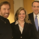 Pres. Candidate Mike Huckabee with actor Chuck Norris and Kirsten before Fox interview in Sept. 2007