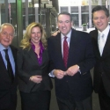 Patrick Healy, Kirsten, Gov. Mike Huckabee and Anthony Kearns after taping of 'Huckabee'