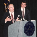 Chairman John Engler (MI) and Gov. Tom Ridge at a RGA press conference in 1996
